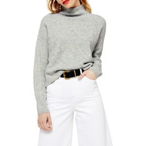 Topshop Cropped Funnel Neck Sweater in Grey